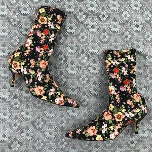 Zara Floral Ankle Sock Boots with Heel